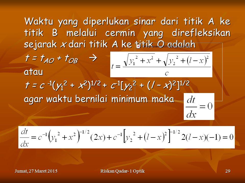 t = c -1(y12 + x2)1/2 + c-1[y22 + (l – x)2]1/2